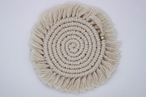 Ivory Macrame Coaster from Eve's Alchemy available at MYSTICROSE Creative & Co.