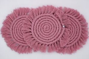 Vintage Rose Macrame Coaster